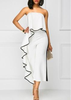 White Strapless Ruffle Overlay Wide Leg Jumpsuit With Contrast Trim