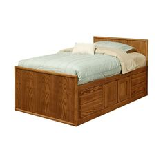OD-O-C284-T - Contemporary Oak Chest Bed with 4 Drawers & 2 Doors and Flat Panel Headboard - Twin Size