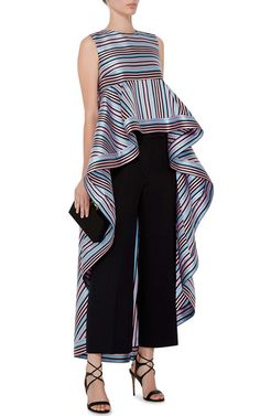 Striped Cascading Peplum Top by NATASHA ZINKO Now Available on Moda Operandi