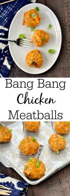 Bang Chicken Meatballs - My Suburban Kitchen Bang Bang Chicken Meatballs - can't wait to try these chicken meatballs.Bang Bang Chicken Meatballs - can't wait to try these chicken meatballs. Crock Pot Meatballs, Chicken Meatballs, Terriyaki Meatballs, Jelly Meatballs, Finger Food Appetizers, Appetizer Recipes, Party Recipes, Finger Foods, Meatball Recipes
