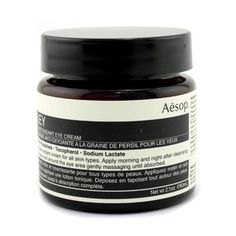 Parsley Seed Anti-Oxidant Eye Cream - Aesop - Eye Care - 60ml/2oz by Aesop. $303.67. 60ml/2oz. A lavish anti-oxidant balancing eye cream Helps relieve & pacify stressed skin Formulated with stabilized vitamin C & Green Tea Blended with Parsley Seed, Lavender Stem & Chamomile Concentrated with of Vitamins C & E Reveals calm & nourished eye contour Perfect for all skin types - Aesop - Eye Care