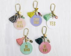 Acrylic quote Keychains - Tassel and brass - gift for her, bridesmaid gifts, colorful keychain, back to school - In Stock Acrylic Keychains, Diy Keychain, Paperclay, Clay Jewelry, Customized Gifts, Bridesmaid Gifts, Cricut, Tassels, Gifts For Her