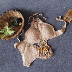 Damen Bohemia Häkeln Bikini Set Bademode Badeanzug Tankini Zweiteiligen-Khaki