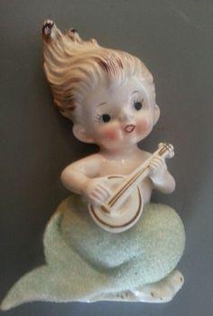 Vintage 50s Bradley Mermaid Merboy Musical Ukulele Wall Plaque Ceramic Figurine | eBay