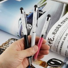 3pcs Universal Touch Stylus Dual Pen with White Diamond for iPhone 5s, iPhone…