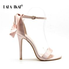 c11938566 LALA IKAI Women s Sandals High Heels Summer Shoes Fashion Ladies Ankle Strap  Butterfly-knot Sandalias Mujer 2018 014C1868 -49