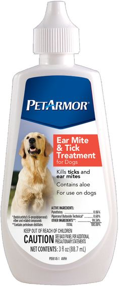 petarmor(R) ear mite & tick treatment for dogs Case of 6