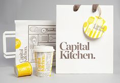 Cool concept of remembering when times were slower by using bold, nostalgic images of milk jars, egg cups, and preserve jars.  Capital Kitchen: homeware and food concept store in Australia  Graphic Designer: Cornwell