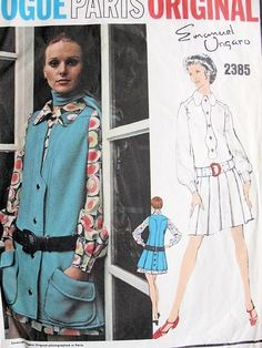 1970s UNGARO Mod Mini Dress and Tunic Jacket Pattern Vogue Paris Original  2385 Unique Design Bust 34 Vintage Sewing Pattern