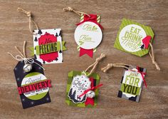 Stampin' Up! Merry Little Christmas Gift Tags ~ 2017 Holiday Catalog Christmas Card Crafts, Christmas Paper, Christmas Projects, Holiday Crafts, Christmas Ideas, Paper Ornaments, Candy Cards, Merry Little Christmas, Xmas