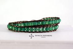 MyChau Vietnam | Double Bracelet - Green Agate  Metal: Silver  Precious gemstones: Green Agate  http://www.patriciapapenberg.com/default/mychau-vietnam-bracelet-green-agate  #jewels #jewelry #bracelets #bracciali #gioielli