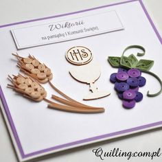 first communion, quilling, greeting card, handmade,  Quilling.com.pl First Communion Cards, First Holy Communion, Quilling Patterns, Quilling Art, Quilling Ideas, Quiling Cards, Ideas Bautizo, Diy For Girls, Handmade Decorations