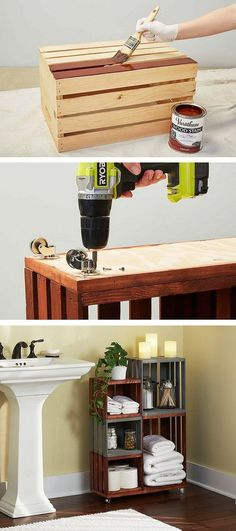Turn ordinary wooden crates into cool bathroom storage on wheels.