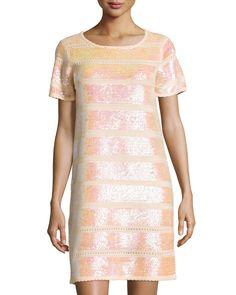 Catherine Catherine Malandrino Short-Sleeve Sequined Knit Cocktail Dress, Starfish, Women's, Size: S