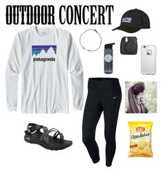 """Concert nights,and city lights"" by kennabug10 ❤ liked on Polyvore featuring Patagonia, Chaco, NIKE, Fujifilm, LifeProof, 60secondstyle and outdoorconcerts"