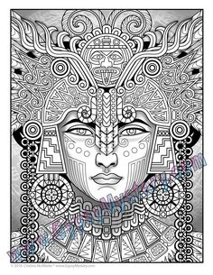 single coloring page mayan astrologer from the magical beauties collection download print color - Coloring Pages For Paint Program