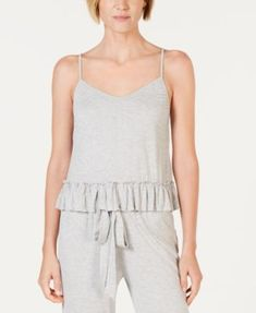 9ea1ea5f493e I.n.c. Knit Ruffle Flounce Pajama Top