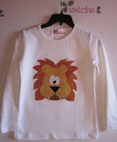 Camiseta infantil león. Patchwork