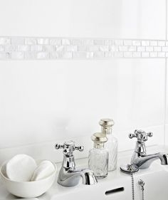 Mother of Pearl White Brick Border Tile price/tile Topps Tiles Bathroom Border Tiles, Mosaic Bathroom, Bathroom Wall, Small Bathroom, Family Bathroom, Bathroom Ideas, Downstairs Cloakroom, Compact Bathroom, Loft Bathroom