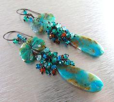 Opale peruviano blu, pietra di luna blu, quarzo e tormalina filo avvolti orecchini