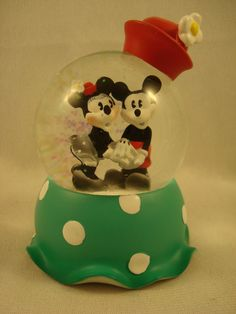 Vintage Mickey & Minnie Mouse Holding Hands Mini 65MM Snowglobe Disney  #19528 #WestlandGiftware