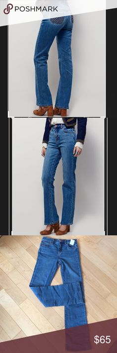 "FREE PEOPLE NWT SEXY BUTT BLUE STRETCH JEANS! 26 FREE PEOPLE VINTAGE INSPIRED BLUE JEANS THATCHING POCKETS- SEXY STRETCH FIT! NWT  100% Authentic   Fitted through the leg, these classic silhouetted bootcut jeans are in a high rise & stretchy fit. Five-pocket style with optimal back pocket placement for a flattering backside featuring vintage inspired woven details.  96% Cotton 3% Polyester 1% Spandex  Size 26. Fits true. Work for both 26&27. w 14 3/4"", frnt rise 10 3/4"", bottm of zip…"