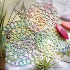 タティングレース「さし色ドイリー」の編み図です♪  野乃のきまぐれHANDMADE生活♪