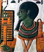 Ptah, the ancient Egyptian god of craftsmen and creation, as depicted in the tomb of Nefertari.