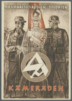 """1939, Propaganda-Postkarte """"Nationalsozialisten & Soldaten - Kameraden"""" mit rs. farbiger Abb. """"SS-Mann mit Hakenkreuzfahne, Soldat u. Arbeiter, sowie Symbol"""","""