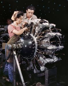 """October 1942. """"Women are trained as engine mechanics in thorough Douglas training methods. Douglas Aircraft Company, Long Beach, California."""" Skipping ahead to 2009, and the end of an era: Kodak announced that, after 74 colorful years, it will stop making Kodachrome film. 4x5 Kodachrome transparency photo by Alfred Palmer, Office of War Information."""