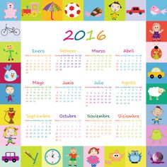 Calendario Infantil en español y editable.