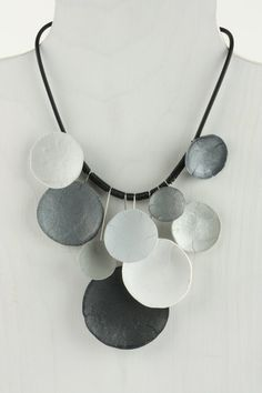 Silver gray polymer necklace by klaraborbas on Etsy, $280.00