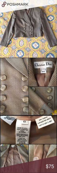 """Christian Dior Crop Blazer • 💯 authentic Christian Dior blazer • gently worn and in perfect condition • no blemishes or tears • it has shoulder pads • two rows of buttons in the front • one button on the inside lapel • one button on each of the cuffs • 100% worsted wool • has lining • dry clean only • measurements: approx 19"""" length, approx 18.5"""" bust (armpit to armpit), approx 16.5"""" waist, approx 23"""" sleeve length • MAKE ME AN OFFER! ❤️❤️ Christian Dior Jackets & Coats Blazers"""