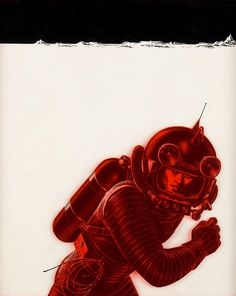 ISTR this was a cover illustration for an old edition of Heinlein's HAVE SPACE SUIT, WILL TRAVEL