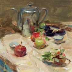 Quang Ho, Apples and Tea, 2010, oil on panel, 36 cm x 36 cm