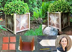 Creative DIY Planter Box Design and Plans Ideas - Rose Gardening Diy Wood Planter Box, Planter Box Designs, Bird Bath Planter, Square Planter Boxes, Planter Box Plans, Diy Planters, Porch Planter, Planter Ideas, Log Wood Projects