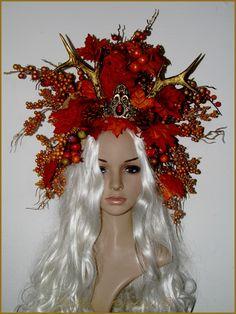 Coiffe Couronne Diad�me Elfique Mariage Ceremonie Mabon Equinoxe Automne Bois Chevereuil Cerf Wicca Pagan