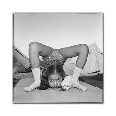 Mary Ellen Mark   Contortionist with Sweety the Puppy.  Raj Kamal Circus, Upleta, 1989