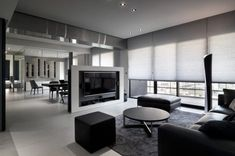 Contemporary apartment located in Taipei, Taiwan, designed by Taipei Base Design Center. Living Room Tv, Living Room Modern, Interior Design Living Room, Home And Living, Living Room Designs, Contemporary Apartment, Contemporary Interior Design, Eclectic Design, Tv Stand Room Divider