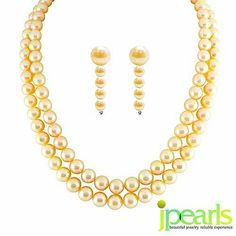 18-20 Inches Long Peach Fresh Water Pearl with Gold Plated Silver Alloy Doubleline Peach Pearl Classic Set