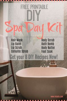 Spa Day Kit Need some 'ME' time? Pamper yourself, make gifts, have a party with your friends and make this Spa Day Kit! Get your FREE PRINTABLE DIY SPA DAY KIT!Printable Printable (noun: printability) usually refers to something suitable for printing: Home Depot, Diy Spa Tag, Routine, Cellulite Scrub, Spa Night, Spa Day At Home, Spa Day For Kids, Diy Hanging Shelves, Diy Holiday Gifts