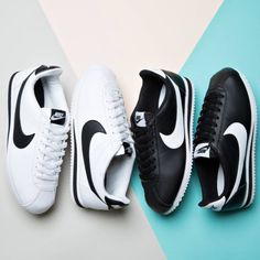 New In - The Nike Women's Cortez leather in White Black and Black White are now available online and in store!