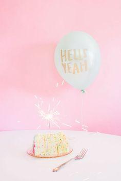 "Glitter Guide x Thimblepress Product Spotlight: ""Hells Yeah"" Balloon, photography by Delbarr Moradi, styling by Em Jayne Scott Birthday Bash, Birthday Wishes, Birthday Parties, Happy Birthday, Pink Birthday, Birthday Treats, Rose Bonbon, A Little Party, Throw A Party"