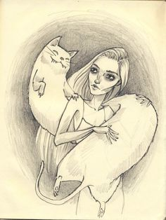 The Cat and the Girl. Pencil