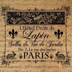 Digital Collage Sheet PARIS French Hotel Drole de Lapin Rabbit Hotel Image Download Transfer For Pillows Totes Tea Towels Burlap No. 2008.  via Etsy.