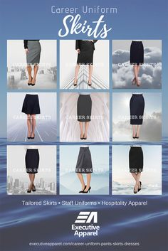 Tailored Uniform Skirts by Executive Apparel. UltraLux Polyester, Easywear Polywool, Optiweave Polywool Stretch. Executive Apparel, Front Desk, Office, Hospitality, Hotel, Career and Collegiate. Custom Skirt design and production available. Sales through distributors. Hotel Uniform, Office Uniform, Uniform Ideas, Front Office, Desk Office, Front Desk, Skirt Pants, Dress Skirt, Apparel Brands
