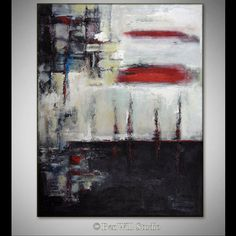 ABSTRACT Art Black and White Painting   ORIGINAL Modern by benwill, $340.00