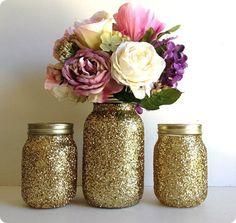 gold glittered mason jars