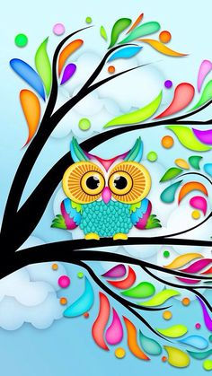 "Search Results for ""eule comic wallpaper"" – Adorable Wallpapers Cute Owls Wallpaper, Tree Wallpaper, Colorful Wallpaper, Wallpaper Ideas, Cartoon Wallpaper, Owl Crafts, Owl Bird, Illustration, Whimsical Art"
