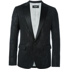 Dsquared2 'London Tux' suit jacket (€1.885) ❤ liked on Polyvore featuring men's fashion, men's clothing, men's outerwear, men's jackets, black and mens tuxedo jacket